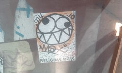 Religion kills (Reid Harris Cooper) Tags: sticker stickerart wisher wish914