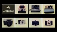 My Cameras (pixelsandfilm) Tags: camera film analog 35mm vintage polaroid sx70 slim 120format wide collection instant analogue agfa vivitar ultra uws zenith isola mycameras thebutton zenite 110format pentax110auto