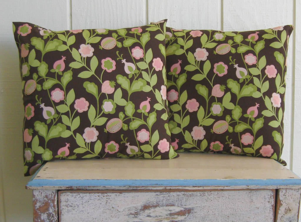 PILLOW COVERS- Floral- Sage Green- Chocolate- Coral Pink