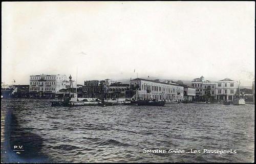 Karpostallarda yangından önce İzmir, Pasaport.