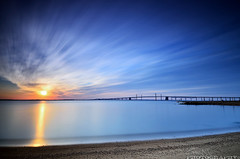 Beaming [Explore #1! & FP] (Gary Ngo | Photography) Tags: longexposure blue orange beach water clouds sunrise bay nikon maryland filter lee nd sandypointstatepark d7000 bigstopper
