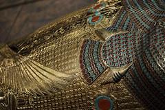 Tutankhamun's Treasures - Detail of the Innermost Coffin Replica (vintagedept) Tags: shadow detail manchester gold kingtut ancient exhibition replica egyptian gilded semmel artefact ancientegypt tutankhamun traffordcentre gravegoods kv62 heritagekey museumofmuseums tutankhamunhistombandhistreasures burtial innermostcoffin exhibition11067