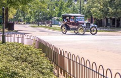 Living History (Wes Iversen) Tags: dearborn fencefriday fords greenfieldvillage hff michigan modelt nikkor18300mm fence fences streetlights streets trees vintage ford