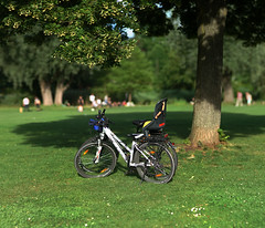 Under the Lime Tree(colour Ver.) (Amselchen) Tags: bokehpanorama bokeh blur dof depthoffield bike bicycle park green sony alpha7 samyang 85mmf14