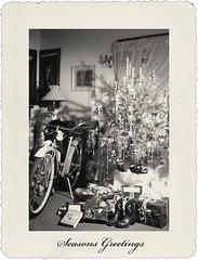 Memories of Christmas Past (SLEEC Photos/Suzanne) Tags: christmas 1948 bicycle vintage action christmastree presents schwinn scannednegative cowgirlboots kodakvigilant616 visionqualitygroup kpaulirufflediitexture coffeeshopcreamychocolateaction