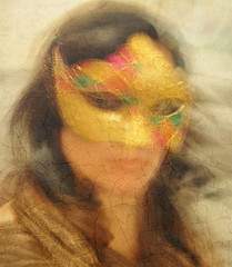 Mystere... (~lala~(Lisa)) Tags: portrait woman selfportrait painterly motion blur art me face mystery self myself gold model nikon mask artistic lisa motionblur sp romantic 365 visualpoetry selfie mystere d90 365days i nikond90 ~lala~ 365days2009 project36612009