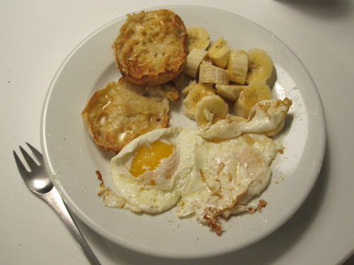 eggs, banana, English muffin