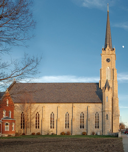 Saint Dominic Roman Catholic Church, in Breese, Illinois, USA - exterior side