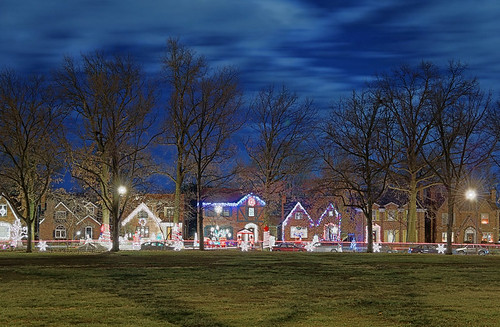 Christmas lights, Saint Louis Hills neighborhood of Saint Louis, Missouri, USA