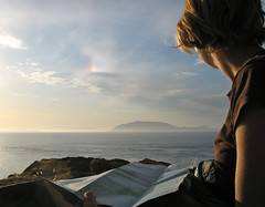 Looking out over the Strait (Alejandro Erickson) Tags: ocean camping people sunrise flickrexportdemo