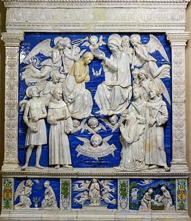 Andrea della Robbia, Incoronazione della Vergine tra i SS. Girolamo, Antonio da Padova, Agnese (