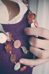 Failty's necklace (Ana Lusa Pinto [Luminous Photography]) Tags: orange shirt gold necklace hand purple skin faith fingers nailpolish lcn