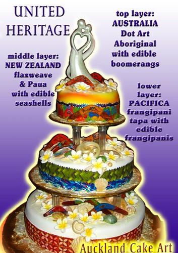 AUSTRALIA NEW ZEALAND SAMOA HERITAGE WEDDING CAKE boomerangs koru frangipanis seashells