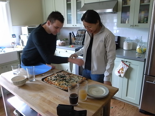 Christie and Gregory Prepare the Pizza