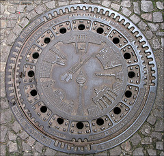 Looking down (cats_in_blue) Tags: berlin manhole lookingdown 2009 manholecover