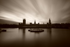 Clouds over the Palace of Westminster (5ERG10) Tags: uk longexposure greatbritain light england house reflection london water westminster sergio thames sepia architecture clouds reflections river daylight boat moving movement nikon bravo long exposure unitedkingdom fiume tripod housesofparliament parliament bigben wideangle palace filter gb daytime vignette londra architettura nopostprocessing inghilterra tamigi parlamento seppia d300 sigma1020 nohdr sooc nd110 amiti 5erg10 parliamentsepialongexposurend110thames