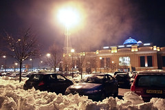 Trafford Centre under snow (ian.williams040) Tags: trees light urban mist snow cars yellow fog night purple carpark highiso traffordcentre olympusep1