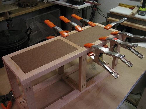 spring clamps holding inlaid panels