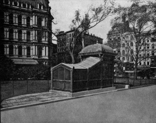 Entrance to Subway, City Hall Park. Post Office Shown at the Left. Copyright, 1904, Pierre P. Pullis