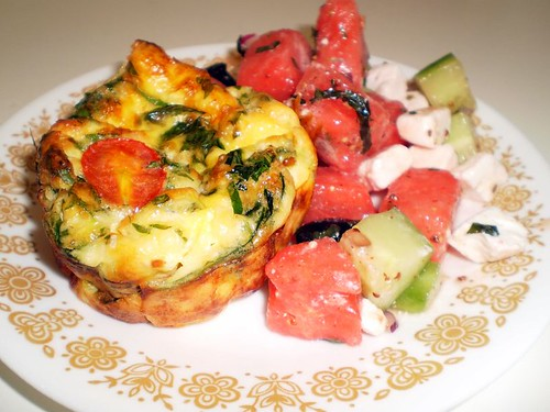 Crustless spinach & ham quiches & watermelon salad