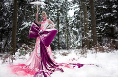 Wonderland : The Path of Possibilities (Kirsty Mitchell) Tags: pink snow fairytale forest katie wideangle fantasy narnia wonderland minus2 giantbow absolutelyfreezingcold kirstymitchell elbievaneeden katieisalegend anamazingadventure