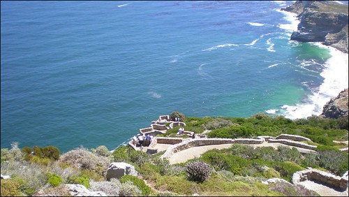 Looking down from the lighthouse at Cape Point