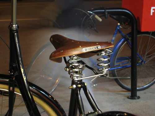 A Brooks B67 leather saddle installed on our Deluxe Flying Pigeon 5-speed - looks nice, rides great.