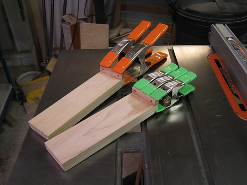 gluing peg blocks onto drawer slides
