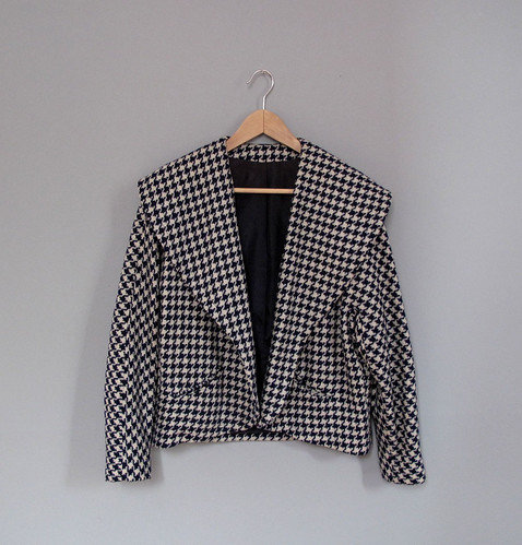 vtg navy blue houndstooth coat