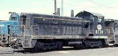 Indiana Harbor Belt Railroad EMD NW-2 # 8730 in Blue Island Illinois. June 1975