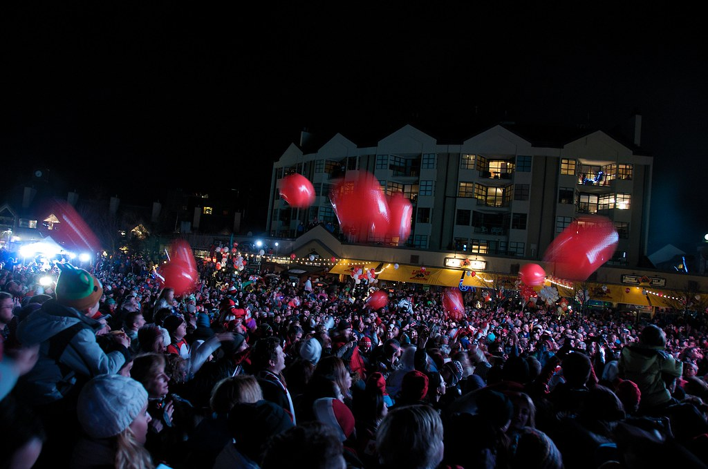 Crowd at Skiier's Plaza Whistler Party