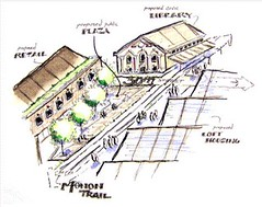 conceptual drawing of neighborhood hub (by: Ball State Students, courtesy of AIA)