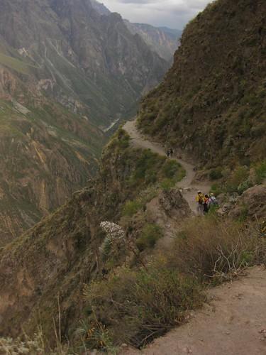 climbing down into the canyon