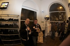 Me & Andy (JamFactory) Tags: uk party night bristol toy gallery vinyl exhibition fisheye plastic droplet launch showcase s2 series2 jamfactory fiftyfifty crazylabel