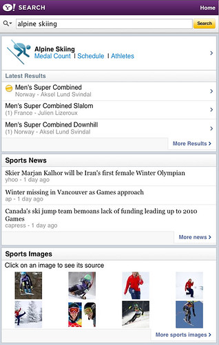 "Search for ""alpine skiing"" on Yahoo! Search Mobile"