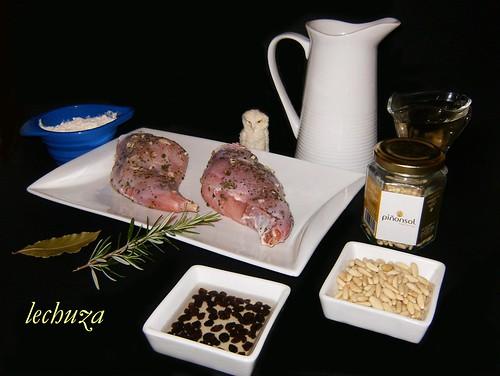 Conejo con piñones y pasas-ingredientes.
