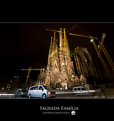 Sagrada Familia (pandahaccer) Tags: barcelona longexposure trip travel winter light orange building church familia night landscape photography star spain construction nikon long exposure catholic tour roman postcard tripod tourist tokina espana gaudi land production sos sagradafamilia landschaft sagrada antoni pemandangan fitri d300 antonigaudi infomation 1116mm tokina1116mm panoramafotogrfico pandahaccer seyalg9