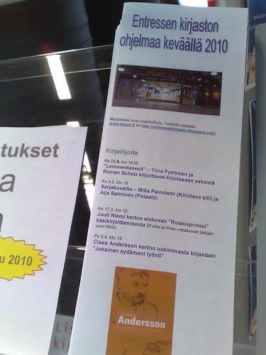 Entressen kirjaston ohjelmaa keväällä 2010