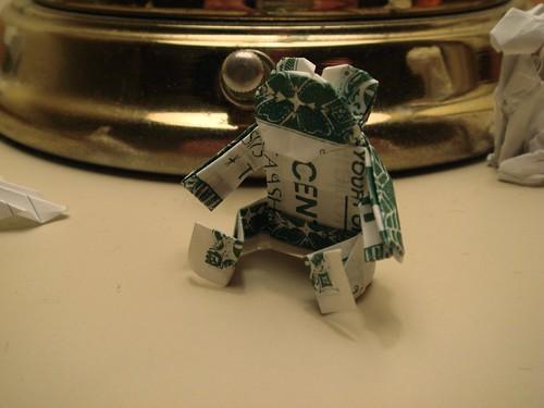 Origami dollar bill teddy bear