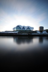 The Sage Gateshead - Newcastle (II) (5ERG10) Tags: uk longexposure morning blue portrait england sky bw colour water glass sergio architecture clouds reflections river newcastle nikon long exposure unitedkingdom steel centre tripod performance wideangle landmark sage tyne gateshead musical daytime curve quays architettura nopostprocessing newcastleupontyne inghilterra arup d300 fosterandpartners sigma1020 nohdr sooc nd110 mottmacdonald amiti 5erg10 sergioamiti