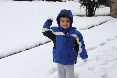 Noah throwing a snow ball