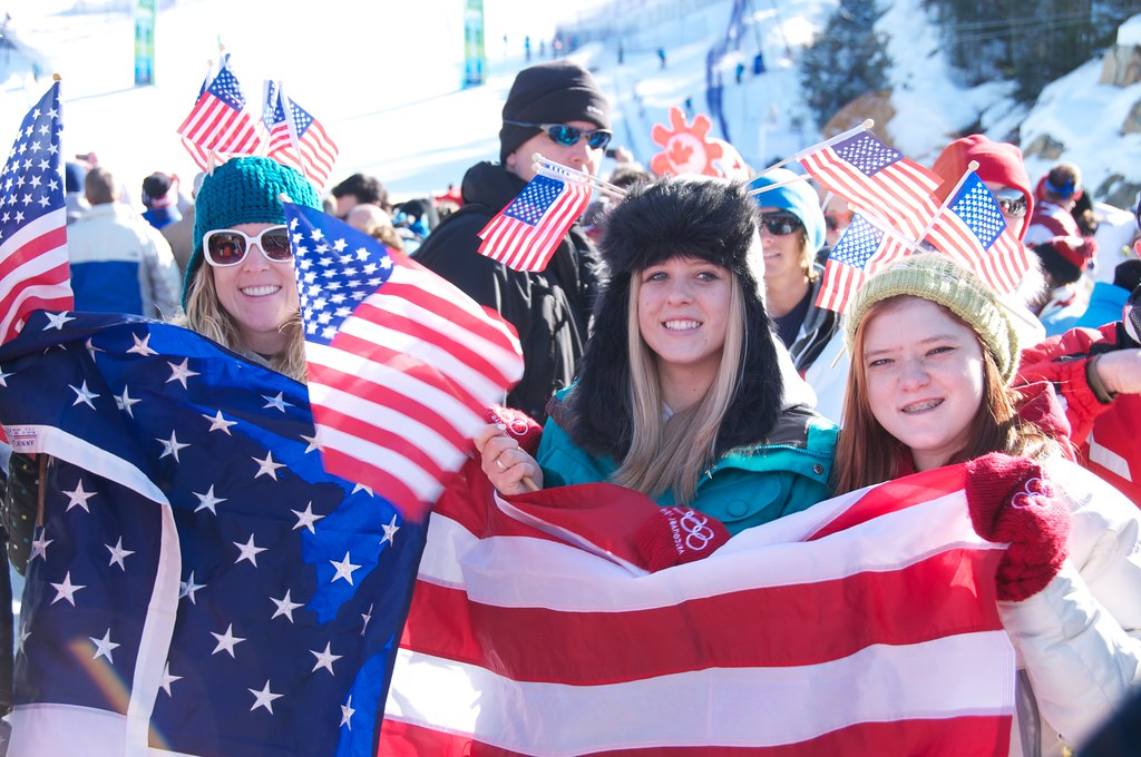 American Fans at Women's Super G at Whistler Creekside