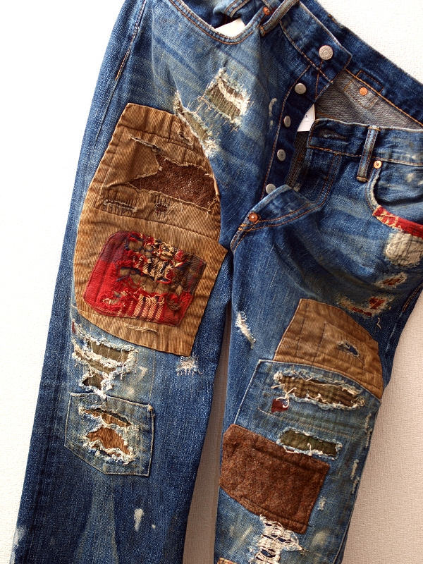 Patchwork denim jeans Buckleback