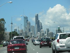 City of Gold Coast From Southport (thienzieyung) Tags: city sky tower cars skyline clouds buildings spiral high streetlight traffic australia places vehicles queensland cbd tall towering lanes goldcoast toyotarav4 circleoncavill thienzieyung