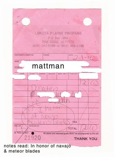 mattmans Receipt from Lakota Plains Propane