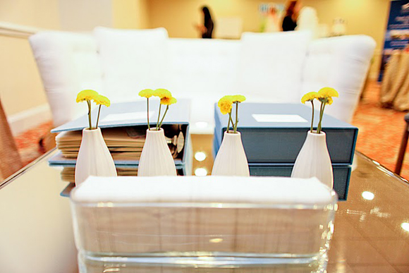 Yellow Mum Centerpieces - Smock at The Wedding Library