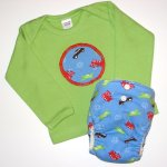 "NB ""Go, Go, Go"" Fitted Diaper & Tee Set"