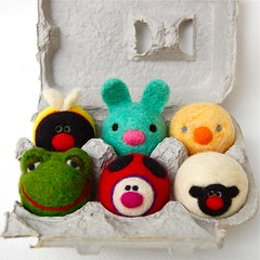 Easter Egg Box Animals (asherjasper) Tags: wool kids children toy eggs eggcarton needlefelted colorfulanimals