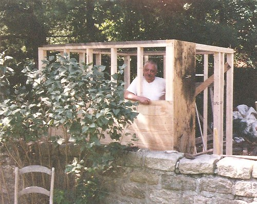 Dad constructing the Tool Shed