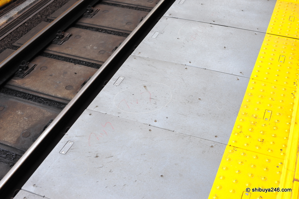 Note the markings near the edge of the platform ready for the gates.